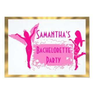 Partie adulte rose de bachelorette carton d'invitation  12,7 cm x 17,78 cm