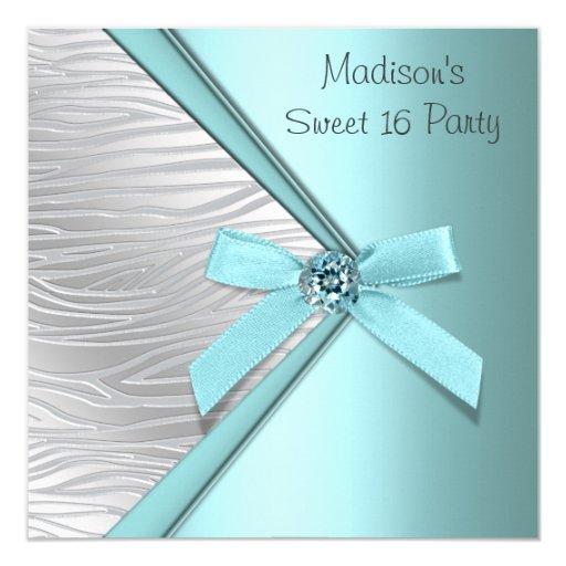 Partie argentée bleue turquoise du bonbon 16 à carton d'invitation  13,33 cm