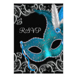 Partie argentée bleue turquoise RSVP de mascarade  Cartons D'invitation