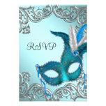 Partie argentée bleue turquoise RSVP de mascarade Invitations Personnalisées