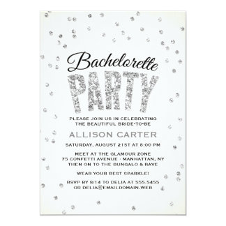 Partie argentée de Bachelorette de confettis de Carton D'invitation 12,7 Cm X 17,78 Cm