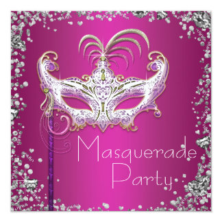 Partie argentée élégante de mascarade de roses carton d'invitation  13,33 cm