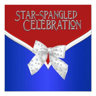 Partie blanche et bleue rouge patriotique carton d'invitation  13,33 cm