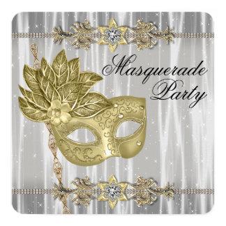Partie blanche noire de mascarade d'or carton d'invitation  13,33 cm