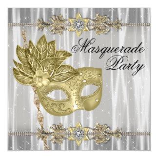 Partie blanche noire de mascarade d'or invitation personnalisée