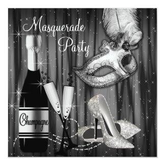 Partie blanche noire élégante de mascarade carton d'invitation  13,33 cm