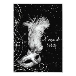 Partie blanche noire élégante de mascarade carton d'invitation  12,7 cm x 17,78 cm