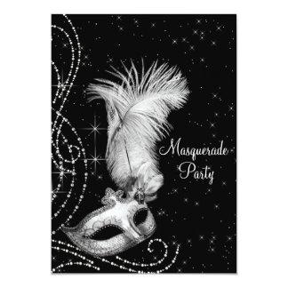 Partie blanche noire élégante de mascarade invitation