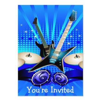 Partie bleue de diplômé de guitares électriques, carton d'invitation  12,7 cm x 17,78 cm