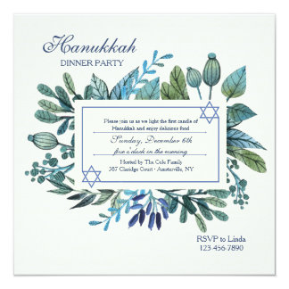 Partie bleue de Hanoukka de feuille et de baies Carton D'invitation 13,33 Cm