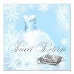 Partie bleue de sweet sixteen de flocon de neige invitation personnalisable