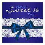 Partie bleue du bonbon 16 à dentelle blanche invitations personnalisées
