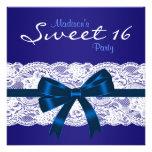 Partie bleue du bonbon 16 à dentelle blanche royal invitations personnalisées