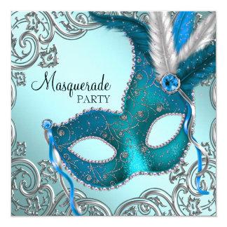Partie bleue et argentée turquoise de mascarade de faire-part personnalisé