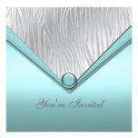 Partie bleue turquoise argentée cartons d'invitation personnalisés