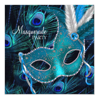 Partie bleue turquoise de mascarade de masque de invitation personnalisée