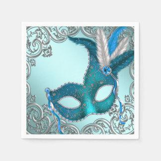 Partie bleue turquoise de mascarade serviettes en papier