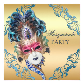 Partie chic de mascarade de masque de plumes de carton d'invitation  13,33 cm