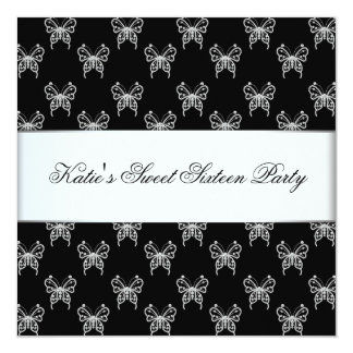 Partie chique de sweet sixteen de papillon blanc carton d'invitation  13,33 cm
