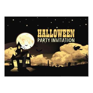 Partie d'amusement de Halloween de lune de château Carton D'invitation 12,7 Cm X 17,78 Cm