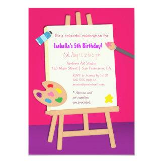 Partie d'anniversaire de enfant d'arts de peinture carton d'invitation  11,43 cm x 15,87 cm
