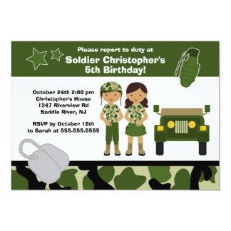 Partie d'anniversaire de enfant de soldat de carton d'invitation  12,7 cm x 17,78 cm