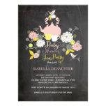 Partie de baby shower florale de fleurs et d'oisea faire-part personnalisés