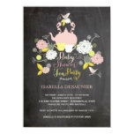 Partie de baby shower florale de fleurs et faire-part personnalisés