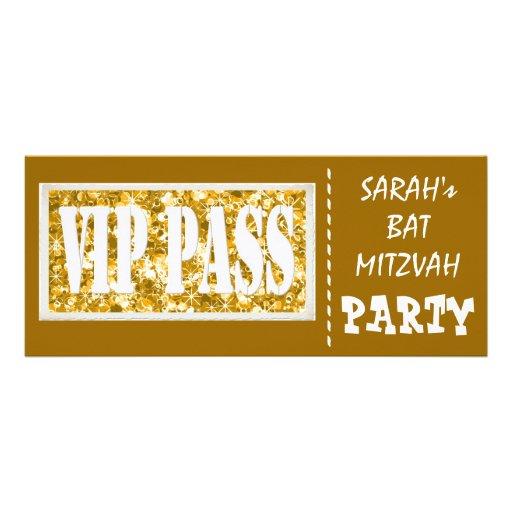 Partie de bat mitzvah de l'étincelle VIP d'or Cartons D'invitation