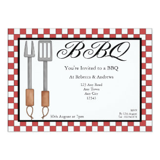 Partie de BBQ Carton D'invitation 12,7 Cm X 17,78 Cm