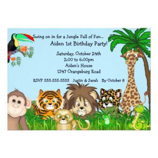 Partie de Birthay d'amusement de safari de jungle Invitations