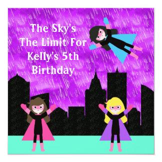 Partie de Bithday de filles de superhéros Carton D'invitation 13,33 Cm