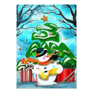 PARTIE de COUTUME de bonhomme de neige de Caroling Carton D'invitation 12,7 Cm X 17,78 Cm