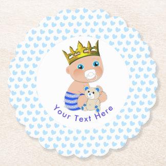 Partie de douche mignonne de prince bébé de coeurs dessous-de-verre en papier