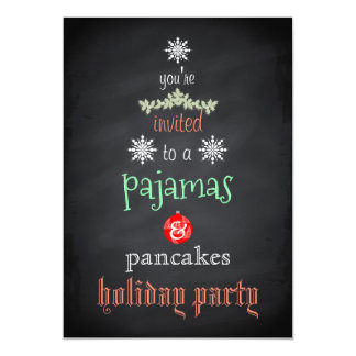 Partie de famille de pyjamas et de crêpes de carton d'invitation  12,7 cm x 17,78 cm