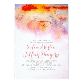 Partie de fiançailles d'aquarelles de coucher du carton d'invitation  12,7 cm x 17,78 cm