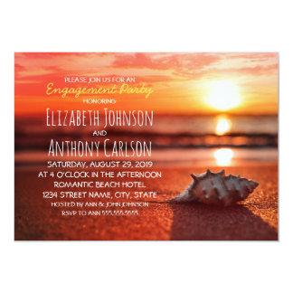 Partie de fiançailles de plage de coucher du carton d'invitation  12,7 cm x 17,78 cm