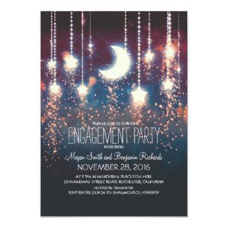 Partie de fiançailles d'étoiles de lune et de carton d'invitation  12,7 cm x 17,78 cm