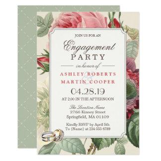 Partie de fiançailles florale botanique vintage carton d'invitation  12,7 cm x 17,78 cm