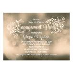 Partie de fiançailles florale de brun moderne de v carton d'invitation
