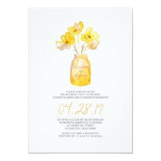 partie de fiançailles florale jaune d'aquarelle carton d'invitation  12,7 cm x 17,78 cm