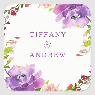 Partie de fiançailles florale pourpre magnifique sticker carré
