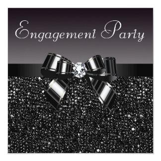 Partie de fiançailles imprimée de paillettes, invitations personnalisées