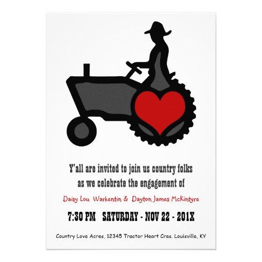 Partie de fiançailles mignonne de tracteur d'amour faire-part personnalisé