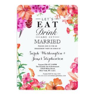 Partie de fiançailles orange rose de jardin carton d'invitation  12,7 cm x 17,78 cm