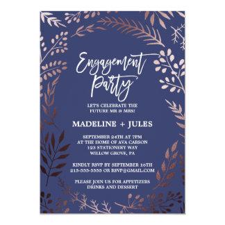 Partie de fiançailles rose élégante d'or et de carton d'invitation  12,7 cm x 17,78 cm