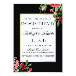 Partie de fiançailles rouge romantique de Rosebud Carton D'invitation 12,7 Cm X 17,78 Cm
