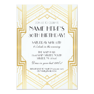 partie de Gatsby d'invitation d'art déco d'or Carton D'invitation 12,7 Cm X 17,78 Cm