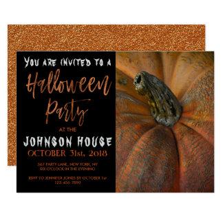 Partie de Halloween avec la typographie orange Carton D'invitation 12,7 Cm X 17,78 Cm