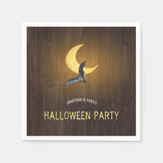 Partie de Halloween, batte d'aquarelle et lune, Serviettes En Papier